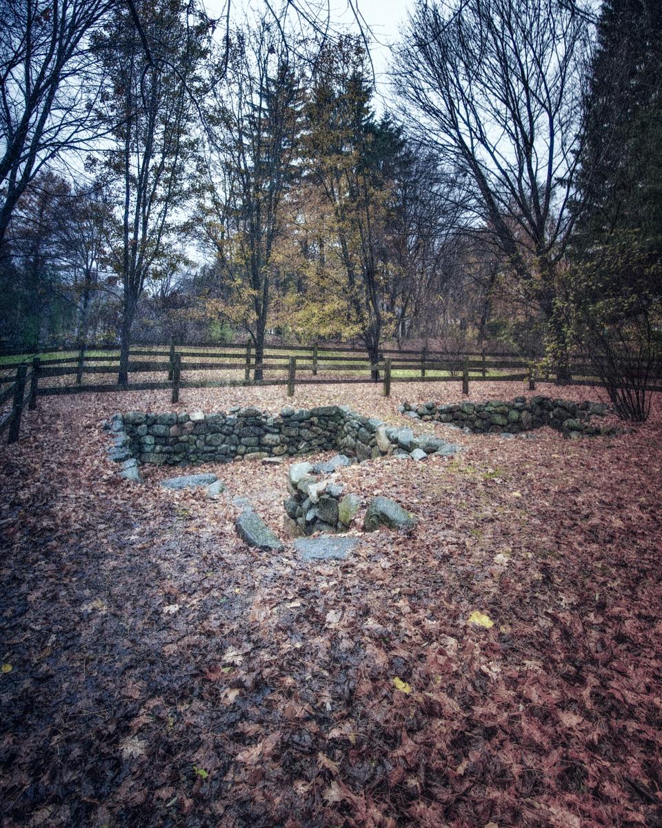 Foundations of the Salem Village Parsonage, Danvers, Massachusettsts.