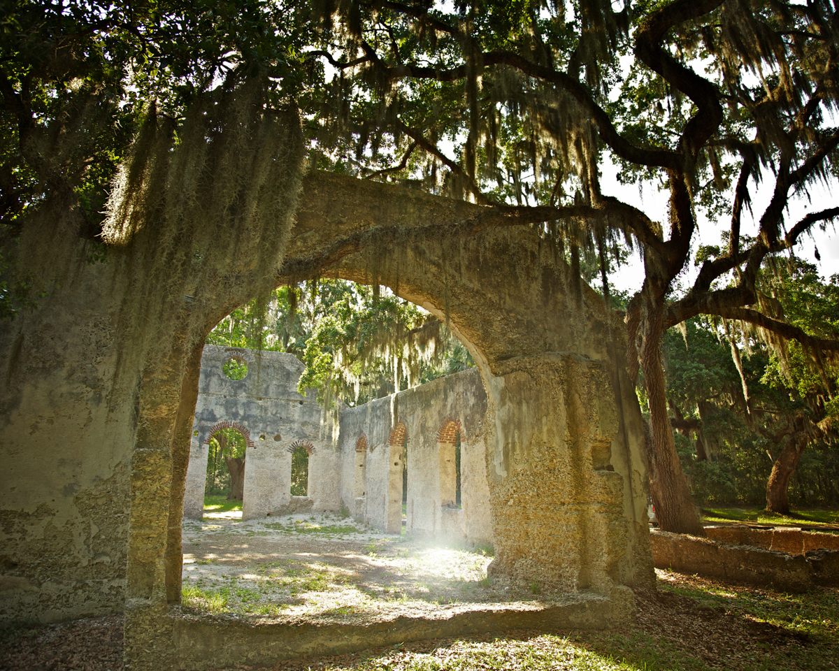 Rear View of the Ruins of the Chapel of Ease, c. 1740, Frogmore, St. Helena Island, Beaufort County, South Carolina