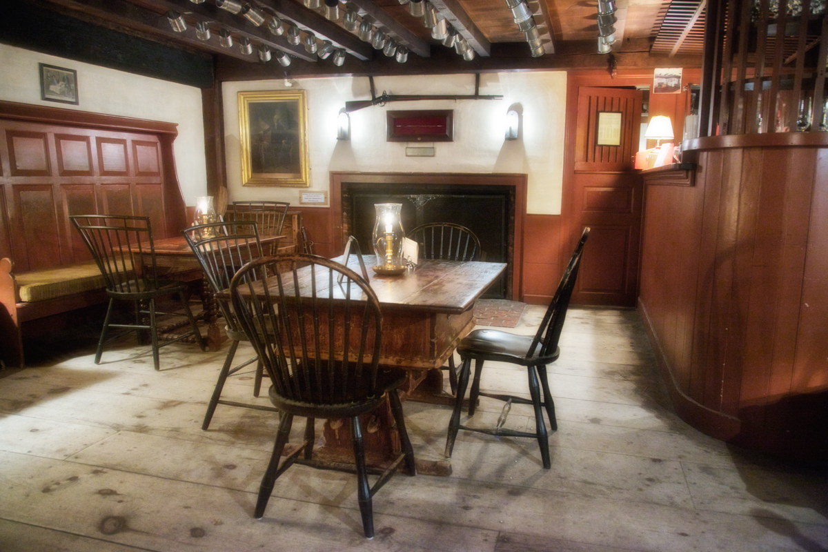 Barroom, Wayside Inn, c. 1716, Sudbury, Middlesex County, Massachusetts. This was the tavern where the poet Henry Wadsworth Longfellow holed up and wrote Tales From a Wayside Inn, which included the poemPaul Revere's Ride in 1860