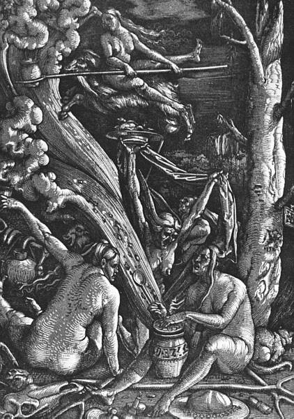 Witches' Sabbath, a woodcut by the German artist Hans Baldung Grien (1484:85-1545