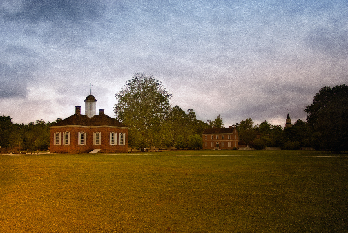 The courthouse and militia training grounds, Colonial Williamsburg, Virginia