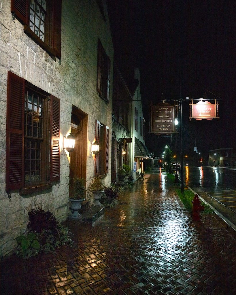 Colonial Era Taverns: Rainy Night Outside Old Talbott Tavern, c. 1779, Bardstown, Nelson County, Kentucky