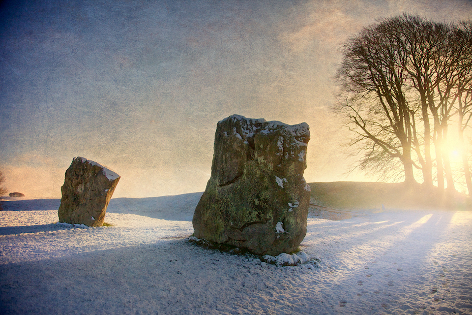 Southern Entrance Stones at Avebury Henge, Avebury Circle, Wiltshire. M.R. James incorporated the antiquities of Britain into his own ghostly tales, told at Christmas, which have become some of the best loved ghost stories in English literature.