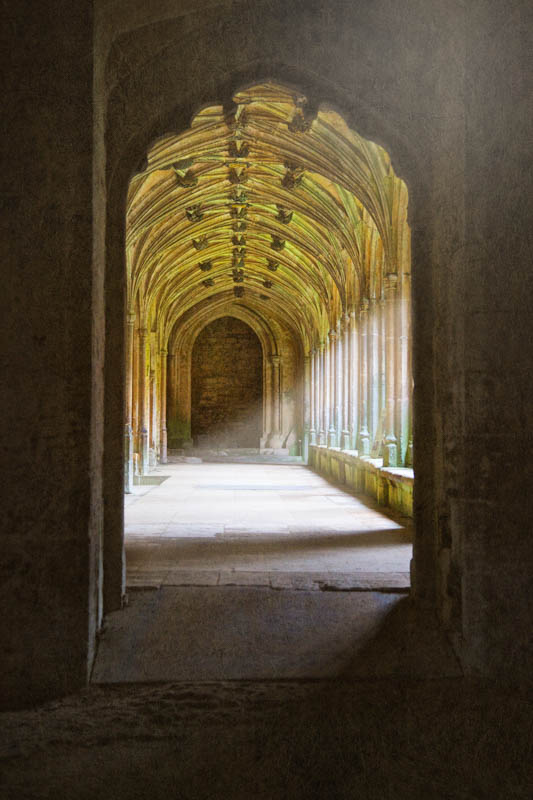 The cloisters at Lacock Abbey as a fine art print