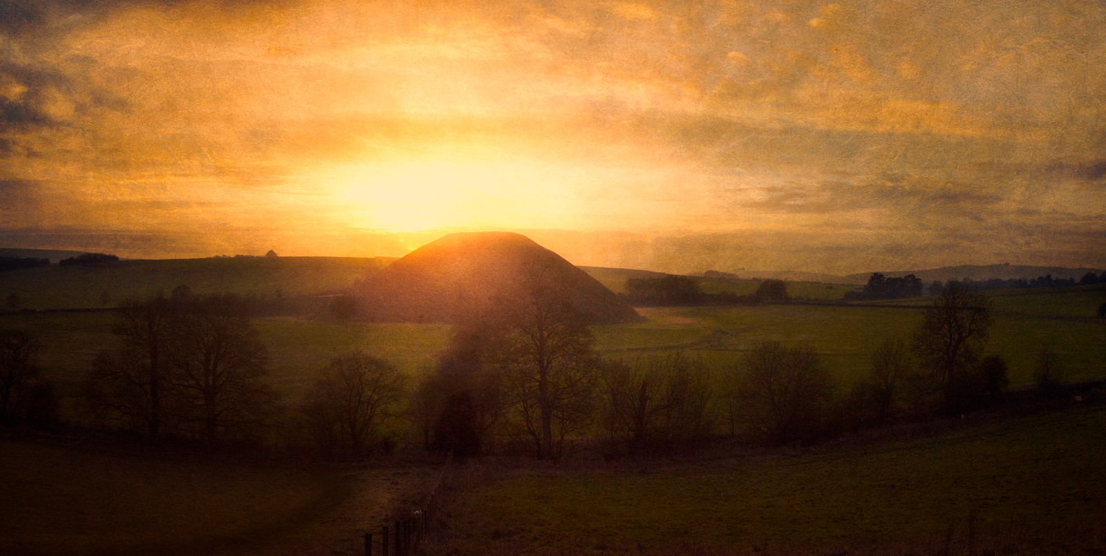 View from Waden Hill of Silbury Hill at sunset