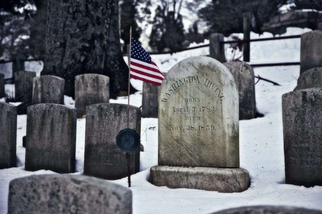 The Grave of Washington Irving, whose writing inspired Dickens' own Christmas ghost story, A Christmas Carol
