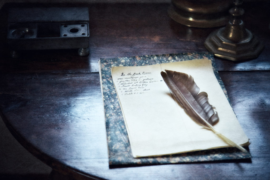 Writing implements for Christmas ghost stories at Philipsburg Manor, Sleepy Hollow, New York