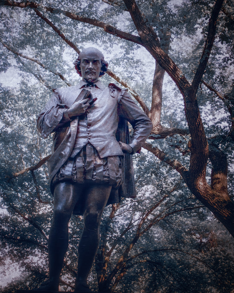 Statue of William Shakespeare, a practitioner of winter tales, the predecessor to Christmas ghost stories in Central Park, Manhattan