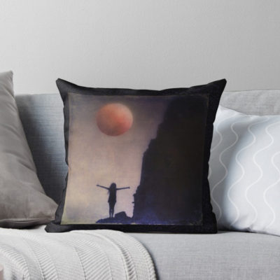 """For the budding author – Blood Moon Throw Pillow – """"It's easier to write with cushions than on pieces of hard bench – it's much easier on a nice cushion,"""" John Lennon"""