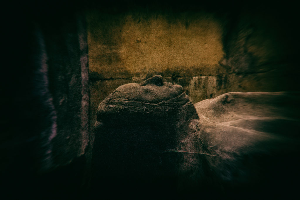 Pickled, buried in lead beneath their death masks in the crypt at Farleigh Hungerford Castle