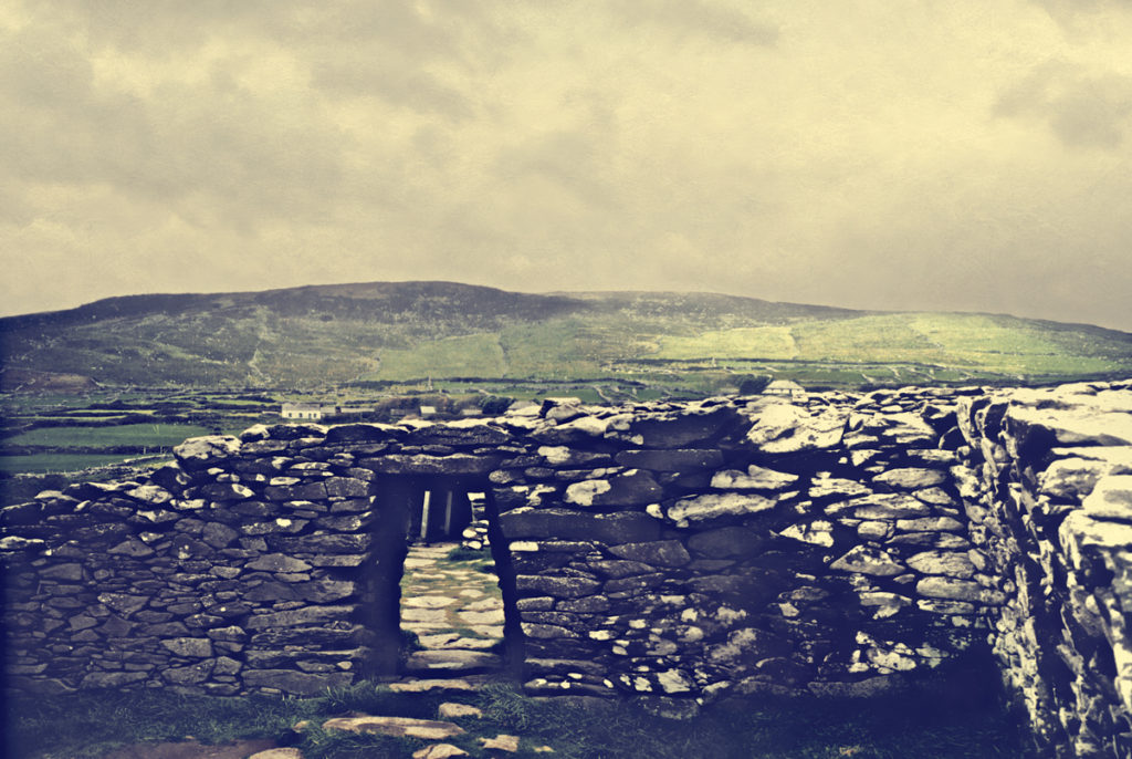 View from the interior of Dunbeg Fort, with Mount Eagle in the background