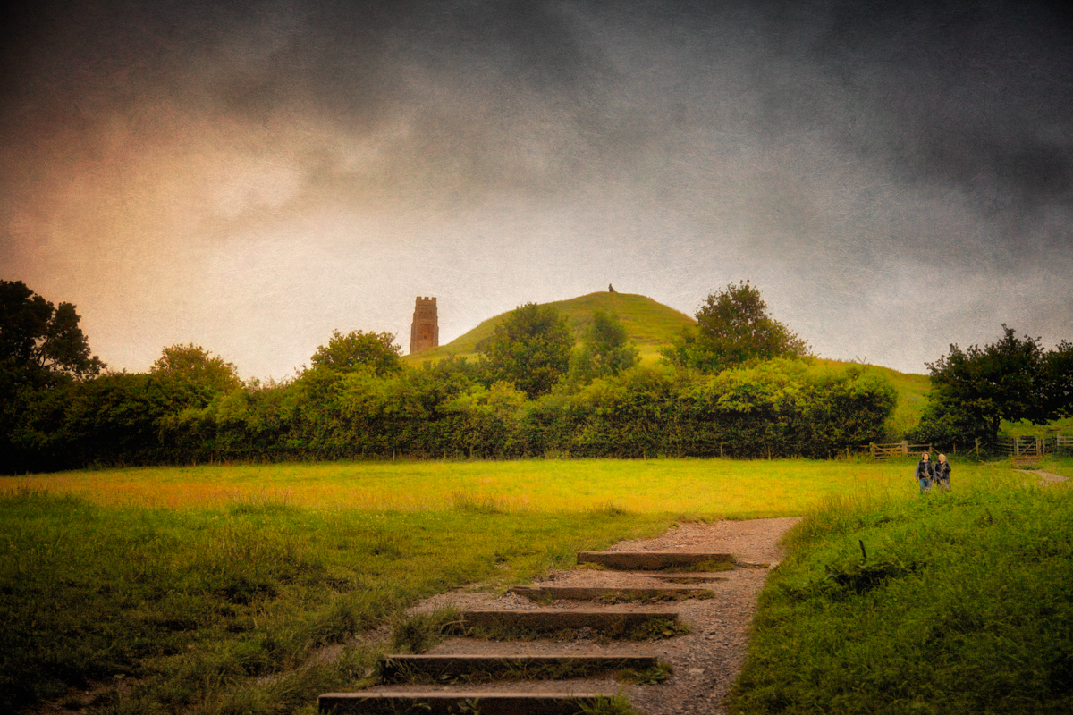 Photo of the first view of Glastonbury Tor from the trail beginning at the foot of Wellhouse Lane