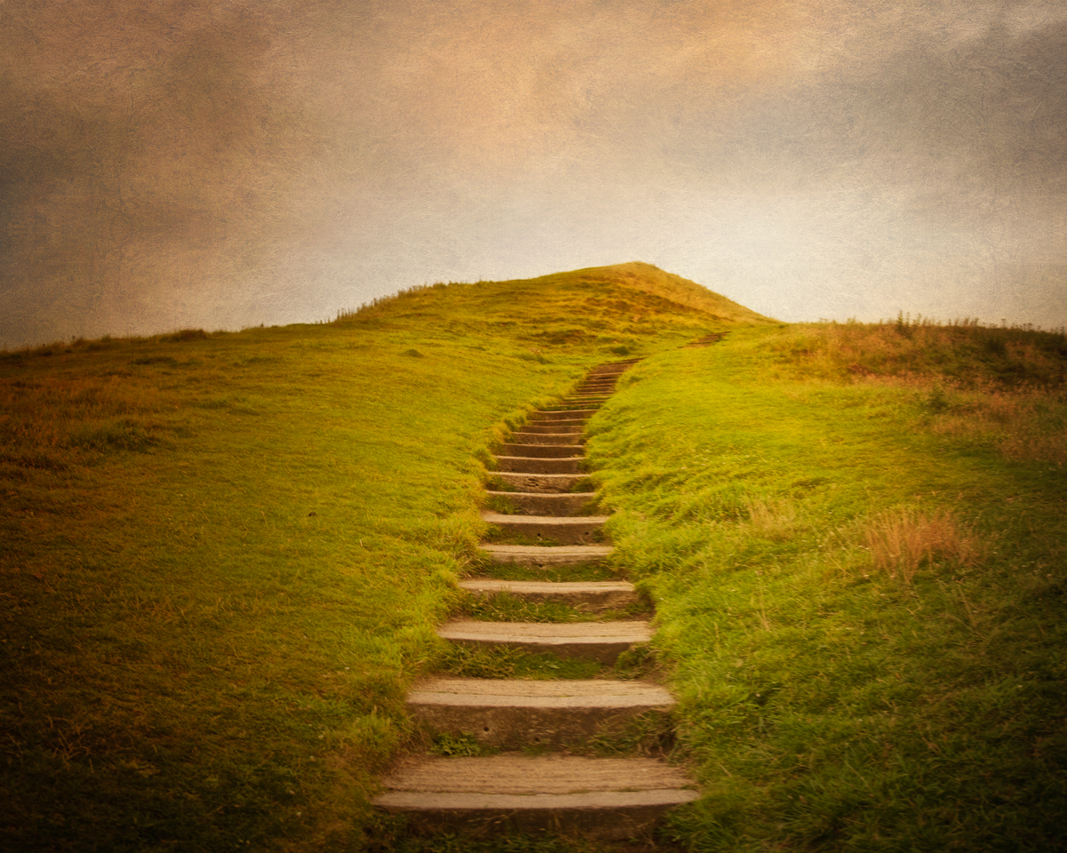 Photo of the steps leading to the top of Glastonbury Tor