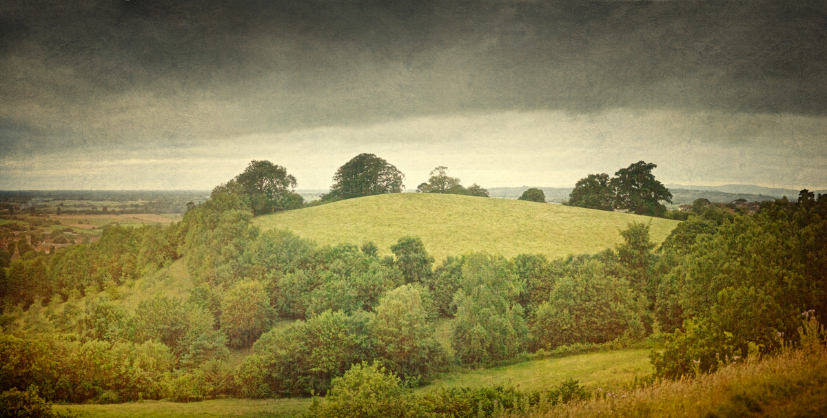 Photo of the wooded slopes of Chalice Hill viewed from the slopes of Glastonbury Tor