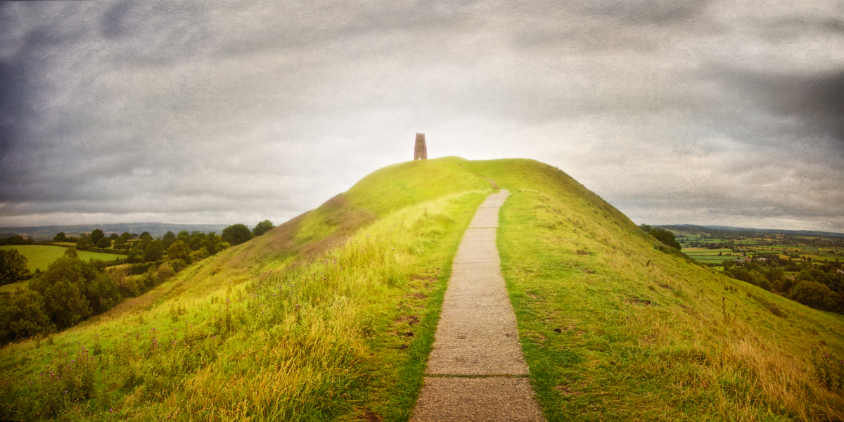 Photo of the Approach to St. Michael's Tower along the spine of Glastonbury Tor