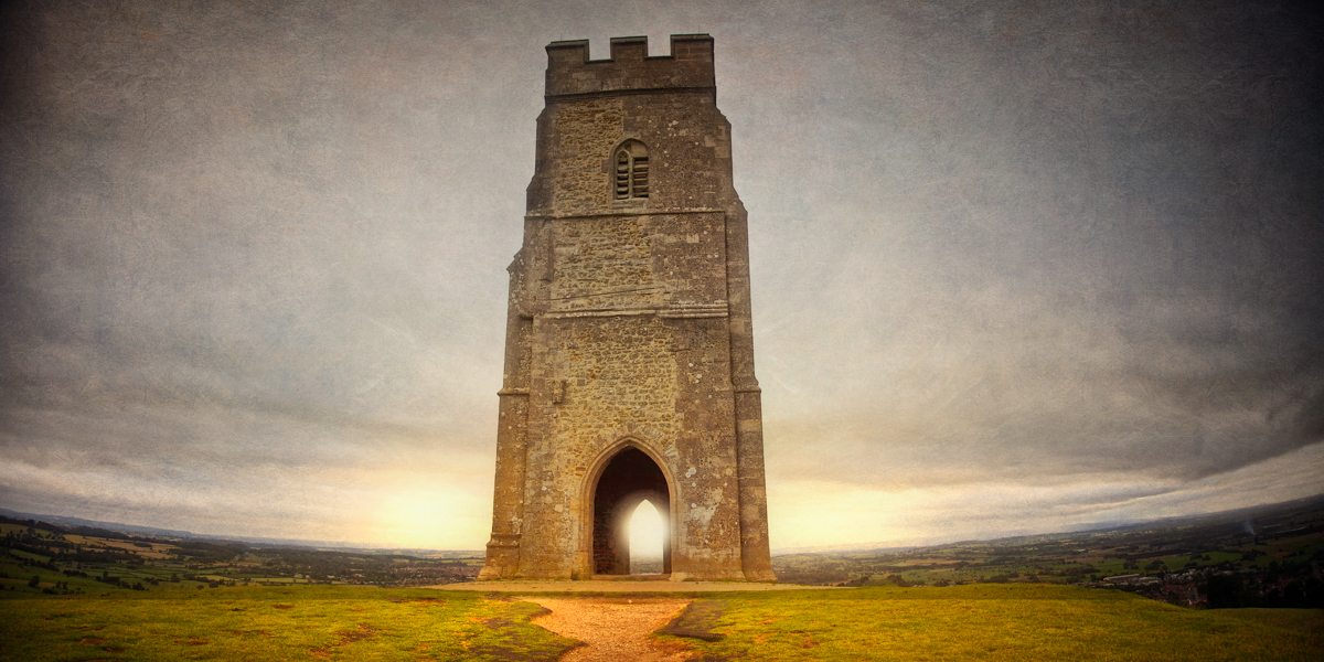 Photo of the approach to St. Michael's tower on Glastonbury Tor