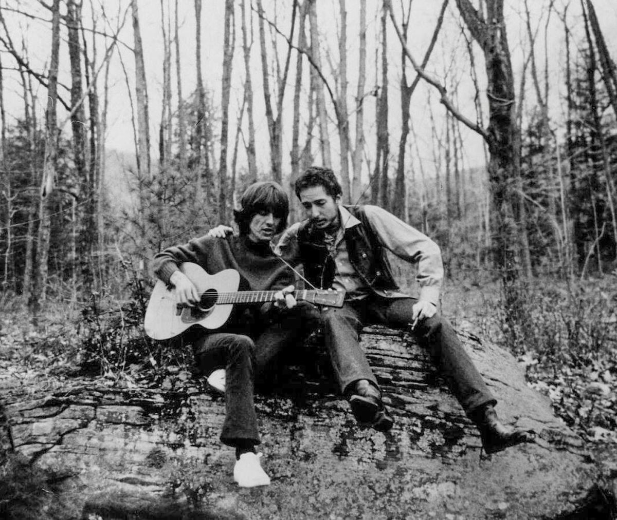 George Harrison and Bob Dylan in the Catskills near Woodstock