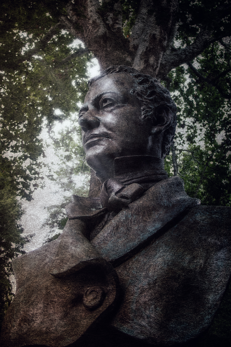 Statue of Washington Irving, the first writer of American folk horror at Sunnyside, from Haunted Travels in the Hudson River Valley of Washington Irving