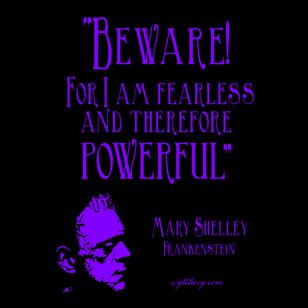 """""""Beware! For I am fearless and therefore powerful"""" Mary Shelley, Frankenstein"""