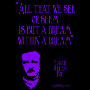 """""""All that we see or seem is but a dream within a dream"""" Edgar Allan Poe"""